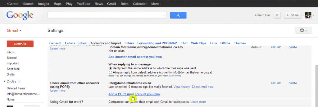 How to add an email account to Gmail - Step 3