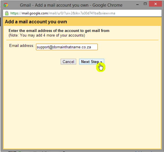 How to add an email account to Gmail - Step 4