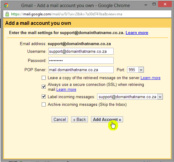 How to add an email account to Gmail - Step 5
